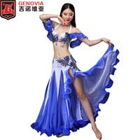 tenues professionnelles femmes achat en gros de-Taille M-XL Femmes Professional Dance Belly Dance 2pcs Outfit Soutien-gorge Jupe Longue Oriental Beaded Belly Dance Costume Nouveautés 2018