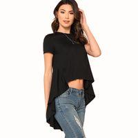 ingrosso midriff a manica corta nera-Lady S-XL a taglio medio asimmetrico sul fondo T shirt donna girocollo manica corta prue crop top nero