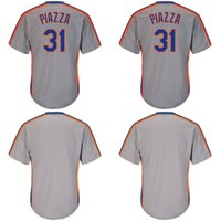 2018 New Mens Grey 31 Mike Piazza Pullover Throwback em branco Coolbase Baseball Jerseys Frete Grátis