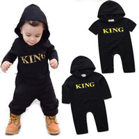 Wholesale King Baby Wholesale - Baby KING letter romper INS boys letter printing Jumpsuits 2018 new fashion kids Boutique Hooded Climbing clothes C3534