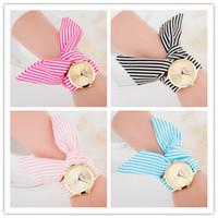 Wholesale Quartz Cloth - 11 Colors design Women watches bracelets Ladies flower cloth wrist watch fashion women dress high quality fabric Wristwatches sweet girls