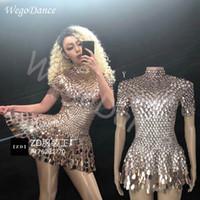 ingrosso nightclub leotards-Shining Lovely Sequins Mini Dress Costume Celebrate strass Tuta Compleanno Abiti d'argento Sexy Nightclub Body