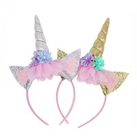 ingrosso le orecchie del gatto del partito-Nuovo arrivo Unicorno cerchio per bambini gatto orecchio cerchio di Halloween partito ornamento capelli fascino capelli regali fascia