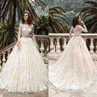 Wholesale ball gown wedding dresses colorful for sale - Group buy 2019 Designer Full Sleeves Lace Wedding Dresses Vestidos De Noiva Pricess Ball Gown Wedding Dress Custom Made Vintage Bridal Gowns BA4103