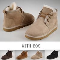 Wholesale mens low ankle shoes for sale - Australian Original brand men s snow boots Sheepskin fur Fashion boots for men mens Neumel shoes EU40 with box