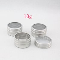 Wholesale metal lipstick containers - 10g X 100 empty sample cream cosmetic Aluminum container with window screw lid, small lipstick Can ,lip balm jars   tin   pots