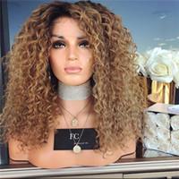 peluca rubia rizada profunda al por mayor-Pelucas delanteras del cordón Cabello humano brasileño Ombre 1B / 30 Miel Rubia Profunda rizada pelucas delanteras del cordón para las mujeres negras 200% densidad