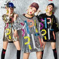 traje para el baile hip hop al por mayor-Hello528shop Lentejuelas Club Nocturno DS Traje de Hip Hop Rendimiento Lentejuelas Danza Adultos Jazz Collar Camisas Damas Tops