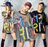 erwachsene tanzspitzen großhandel-Hello528shop Pailletten Nachtclub DS Hip Hop Kostüm Leistung Pailletten Tanz Erwachsene Jazz Kragen Shirts Damen Tops