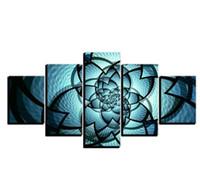 padrões de tela de pintura livre venda por atacado-Frete grátis opular 5 Peças Padrão de Flores Azuis Pictures Modern Spray Painting Sala Pintura Da Lona Fotos Parede HD Prints