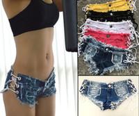 calças jeans venda por atacado-Mulheres Sexy Shorts Denim Jeans Moda Trendy Super Calças Curtas Cintura Baixa Super Mini Calça Curta S-L