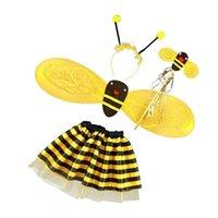 ingrosso ragazza di miele-4Pc Bumble Bee Honey Girls Bambini Fairy Halloween Fancy Dress Up Costume Party