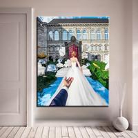 ingrosso paesaggio matrimonio-Pittura a olio fai da te con i numeri Dipinta a mano Bella sposa Chiesa Paesaggio Tela Immagini Home Decor Living Room Wedding Wall Art