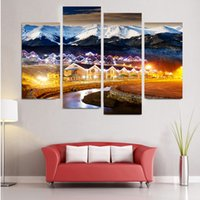 Wholesale country landscaping pictures resale online - 4pcs No Frame Wall Art Picture HD Print Canvas Painting Spray Painting Multi picture Combination Home Decor Country Bright Night
