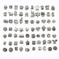 Wholesale diy metal jewelry for sale - Group buy 70 styles tibet Silver Big Hole Beads for European Charm Bracelets pandora Bracelets Metals Loose Beads Jewelry DIY