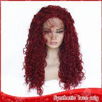 perucas de cores para mulheres venda por atacado-Hot Moda Womens Wigs Borgonha Cor Longa Peruca Crespo Encaracolado 180% Densidade Sem Cola Resistente Ao Calor Dianteira Do Laço Sintético Perucas com o Cabelo Do Bebê