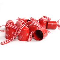 pequenas decorações de árvore de natal venda por atacado-Natal jingle bell 12 pcs vermelho branco Cilíndrico 25mm natal floco de neve pequeno sino árvore pendurado decoração para casa XMAS