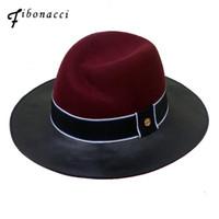 qualität fedora hüte großhandel-Fibonacci 2018 Neue Marke Qualität Jazz Kunstleder Wolle Patchwork Fedora Hut für Frauen Wolle 100% Filzhut