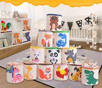 cestas para ropa sucia al por mayor-Dibujos animados Cordones Contenedores de almacenamiento Juguetes para niños Cestas de almacenamiento Cubetas lavables Bolsa de lavandería Ropa sucia Organizador Impresión animal KKA4126