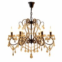 Wholesale office room decor - iron crystal pendant lights K9 crystal chandelier lighting fixtures E14 black chandeliers home decor 5 8 10 heads for living room bedroom