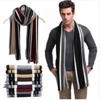 ingrosso sciarpa a maglia a righe-Sciarpa di design invernale Sciarpa di cotone a righe da donna Sciarpa di scialle maschile a maglia nera Sciarpa a strisce di cachemire con sciarpe e nappe