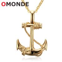 ingrosso collane in stile pirata-OMONDE Uomo Oro Colore Acciaio inox Boat Anchor Pendant Collane Vintage Style Pirate Ornamenti Moda gioielli collo del Vichingo per uomo