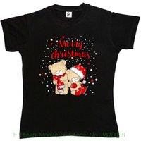 ingrosso guanti di natale sciarpe-Merry Christmas Teddy Bears da donna con guanti Xmas Scarf Womens Ladies T-shirt Cool Ladies