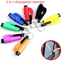 Wholesale Emergency Safety Hammer - 3-In-1 Mini Emergency Safety Hammer Cutter And Auto Car Window Glass Breaker Safety Hammer Cutter 7COLORS FFA109 500PCS