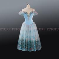 velvet birds 2018 - Ballet Long Dress Blue Bird Performance Costumes Velvet Bodies Classical Tutu Dresses Ballerina Stage Wear Sleep Beauty AT1208