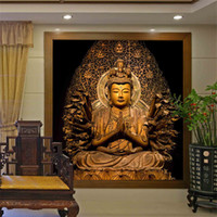 Wholesale pink paper wallpaper - beibehang Golden Buddha Buddhist Temple Mural Custom Large Living Room Screen Background Wall Wallpaper 3D Stereo Wallpaper