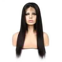 perruques de cheveux humains achat en gros de-Perruques de cheveux humains avant de dentelle de perruque droite perruques 250% perruques sans colle de couleur naturelle brésilienne pour femme