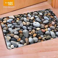 приветственные маты оптовых-HUGSIDEA Funny Front Door Mats 3D  Stone Pattern Non-slip Home Floor Carpet Tapis Welcome Entrance Doormat for Bedroom Rugs