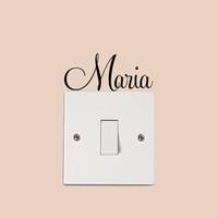 calcomanías de nombre personalizado para las paredes al por mayor-nombre Maria Custom made Decals, etiqueta de la pared personalizada, etiqueta diy del teléfono