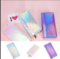 Wholesale phone hologram - Holographic Long Wallet Shining PU Leather Zipper Wallets Laser Hologram Gradient Color Mermaid Clutch Purses Cell Phone Bag KKA5334