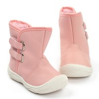 ingrosso stivali da bambino in pelle-Sweet Children Boots Baby Pu Leather Bambini Booties invernali Ragazzi ragazze Handsome Snow Warm Shoes Toddler Soft Rubber First Walker