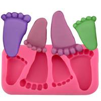 niedliche geleeform großhandel-Baby Füße Form Kuchenform Silikon Füße Fondant Praline Gelee Dekoration Fondantform Niedlichen Kind Fuß Formen Backen Werkzeug