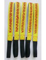 sarı deri softball headbands toptan satış-Softbol Headbands-Sarı Dikiş Kırmızı Dikiş Dikiş Fastpitch Streç Elastik Spor saç bandı ÜCRETSIZ DHL ile