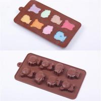 bolos para pequenos animais venda por atacado-Bolo de Silicone Molde Chocolates DIY Manual Handmade Soap Mold Bonito Pequeno Urso Leão Hipopótamo Animal Cozimento Moldes Bakeware Kithen Ferramentas 2 4hq bb