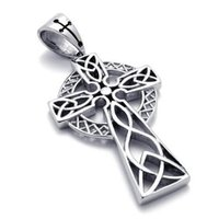 Stainless Steel Irish Knot Celtic Cross Mens Womens Necklace Pendant 24 inch Chain