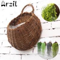 cestas de plantadores de pared al por mayor-Colgante de pared cesta de mimbre de flores naturales maceta de flores maceta de mimbre cesta Jardín de la casa decoración de la pared contenedor de almacenamiento