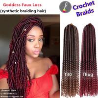 ombre кудрявые волосы оптовых-Синтетический богемный стиль Faux Локс вьющиеся волосы богиня конец 20