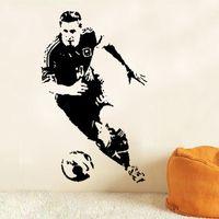 futbol çıkartmaları toptan satış-Sıcak Yeni Futbol Oyuncu Duvar Çıkartmaları Futbol Spor Atlet Duvar Çıkartması Vinil Dekor Boys için Kreş Oturma Odası Yatak Odası Okul Ofis