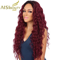 Wholesale Wavy Red Wigs - Aisi Beauty Women's Synthetic Ombre Wine Red Long Wavy Wigs Heat Resistant Fiber Cheap Cosplay Wigs For Black Women