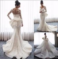 Princess Arabic Mermaid Wedding Dresses With Detachable Train Long Sleeve Jewel Sweep Train Big Bow Lace Bridal Gowns Garden Chapel Country
