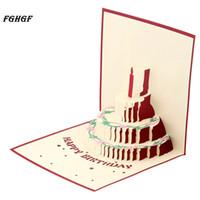 Wholesale blank postcards - FGHGF 3D Happy Birthday Postcard Greeting Gift Cards Kraft Kirigami Blank Paper Handmade Pop Up Laser Cut Vintage Cake