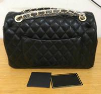 Wholesale ivory alligator - Fashion Classic Flap Genuine Black Leather Quilted Double Flap Bag women's Shoulder Bag Messenger Bag totes