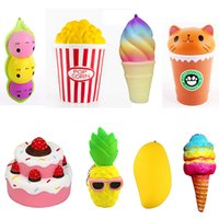 Wholesale Wholesale Cake Icing - Squishy Collection 8pcs Slow Rising Bread Scented Squishies Glitter Foam Cute Cartoon Kawaii Cake Ice Cream Popcorn Pineapple Squishy Toys