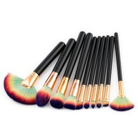 Wholesale factory direct wholesale hair online - Factory Direct DHL Free High Quality Fan Makeup Brush Wood Handle Makeup Brushes Kits Eyebrow Eyeliner Foundation Make up Brush Toool