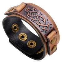 Wholesale old style accessory online - Real leather EU style BRACELET BANGLE Red Bronze DO THE OLD effects Bangles wrist Bracelets vogue charm accessories arm decoration
