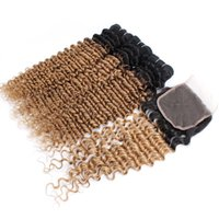 Wholesale blonde curly hair online - T B Ombre Honey Blonde Deep Curly Bundles with Lace Closure Brazilian Peruvian Indian Malaysian Curly Virgin Human Hair Bundles